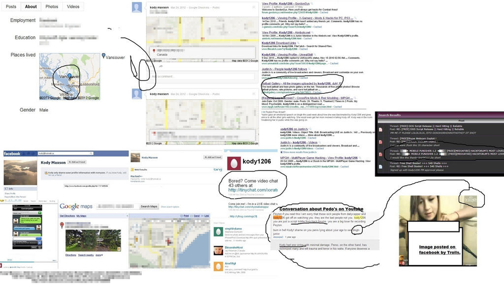 including google map screenshots of his house his facebook profile